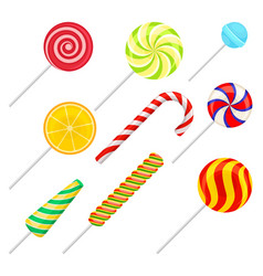 sweet lollipops set colorful sweets sugar vector image