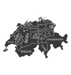 switzerland map labelled black in german language vector image