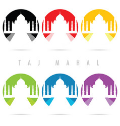 Taj mahal icon set in color art vector