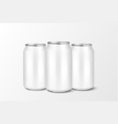 Three realistic 3d empty glossy metal white vector