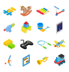 Toys isometric 3d icons set vector