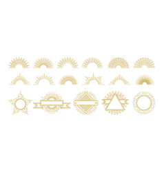 vintage gold sunburst circle lines decorations vector image