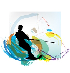 Water skiing man vector