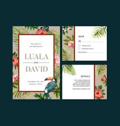 Wedding invitation watercolor design with toucan vector