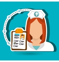 woman medical staff clipboard vector image