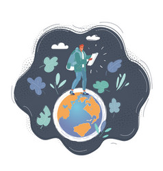 woman step on small globe vector image