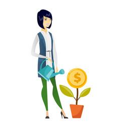 Woman watering money flower vector