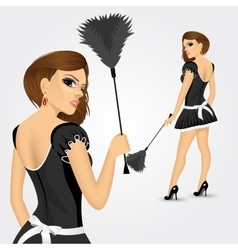 young maid in classic maid dress vector image