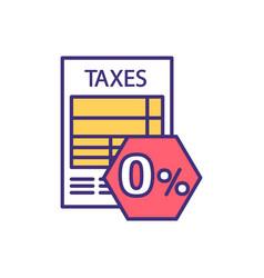 Zero percent tax rate rgb color icon vector