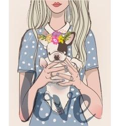 cute girl with bulldog vector image vector image
