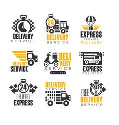 delivery set for label design express delivery vector image vector image