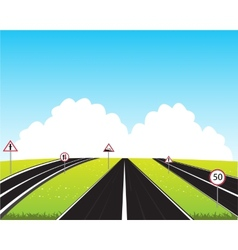 Much roads in field vector image vector image