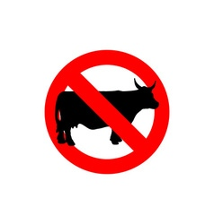 Stop cow Prohibited cattle Frozen farm animal Red vector image vector image