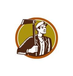 Gardener Landscaper Grub Hoe Woodcut vector image vector image