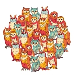 Group owls isolate on white vector image vector image
