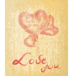 Hand drawing heart you on grunge background vector image