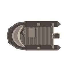 inflatable boat flat icon top view isolated vector image vector image