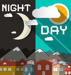 Night and Day with Mountain City and Sun wit vector image