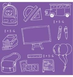On purple backgrounds school education doodles vector image