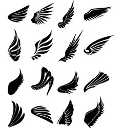 Wings icons set vector