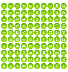100 wireless technology icons set green vector