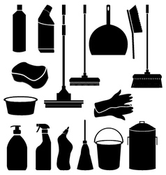 cleaning tools icons vector image