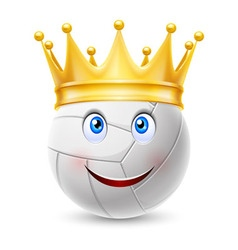 Gold crown on a volleyball ball vector image