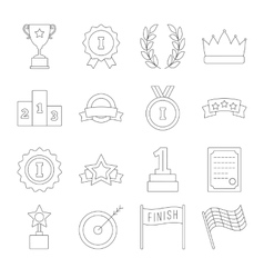 Line victory icon set vector image