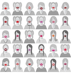 Lip smile set icons vector image