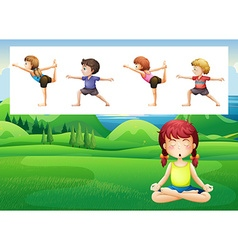People doing yoga in the park vector image vector image