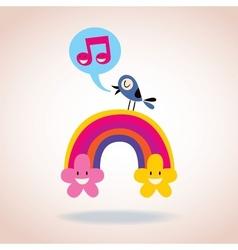rainbow flowers and singing bird vector image