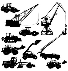 Set of silhouettes construction machinery vector image