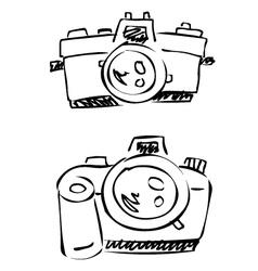 doodle cameras digital analogue vector image vector image