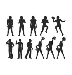 football players coaches cheerleading girls vector image vector image
