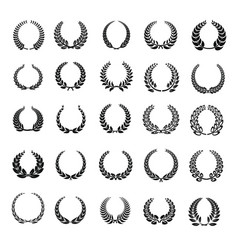 laurel wreath icons set simple style vector image