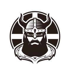 viking logo or label warrior in armor vector image
