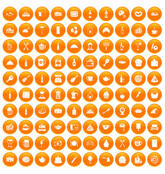 100 restaurant icons set orange vector