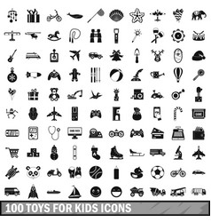 100 toys for kids icons set simple style vector image