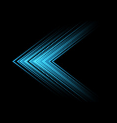 abstract blue light arrow speed direction on black vector image