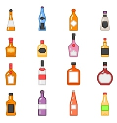 Alcohol bottles icons in flat line style vector image