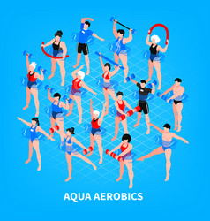 aqua aerobics isometric composition vector image