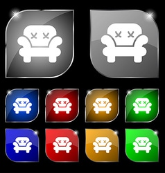 Armchair icon sign Set of ten colorful buttons vector image