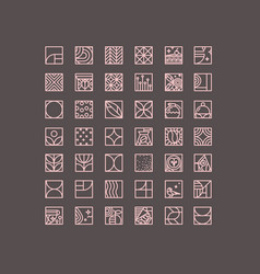 Art deco coffee icons brown vector