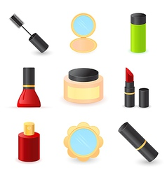 beautiful ladys cosmetics icons vector image