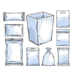 Big set of empty plastic and paper packaging vector