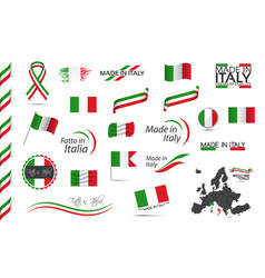 big set of italian ribbons symbols icons vector image