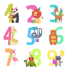 birtday numbers animals party fun invitation vector image