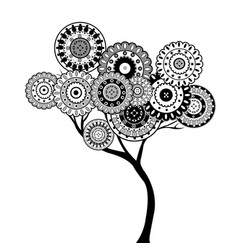 black and white oriental motifs tree vector image