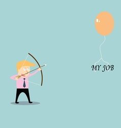 businessman aiming at job with bow and arrow vector image