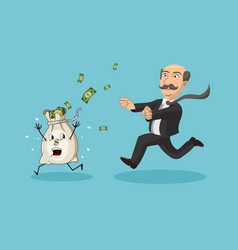 Businessman chasing money bag vector